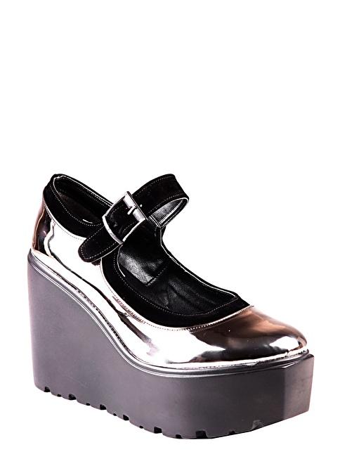İnce Topuk Dolgu Topuk Ayakkabı Gümüş